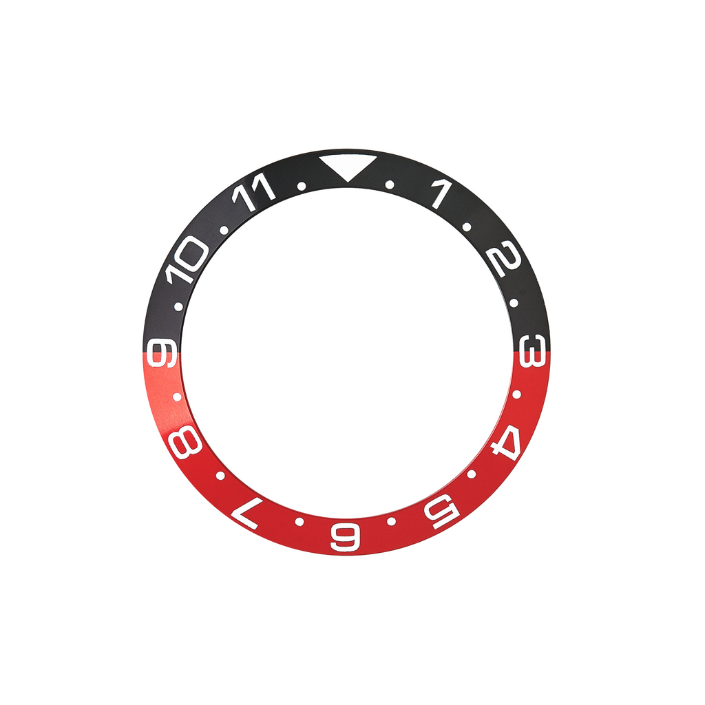 SKX Aluminium Bezel Insert: Dual Time style Black/Red (Coke) for SKX007 SKX009
