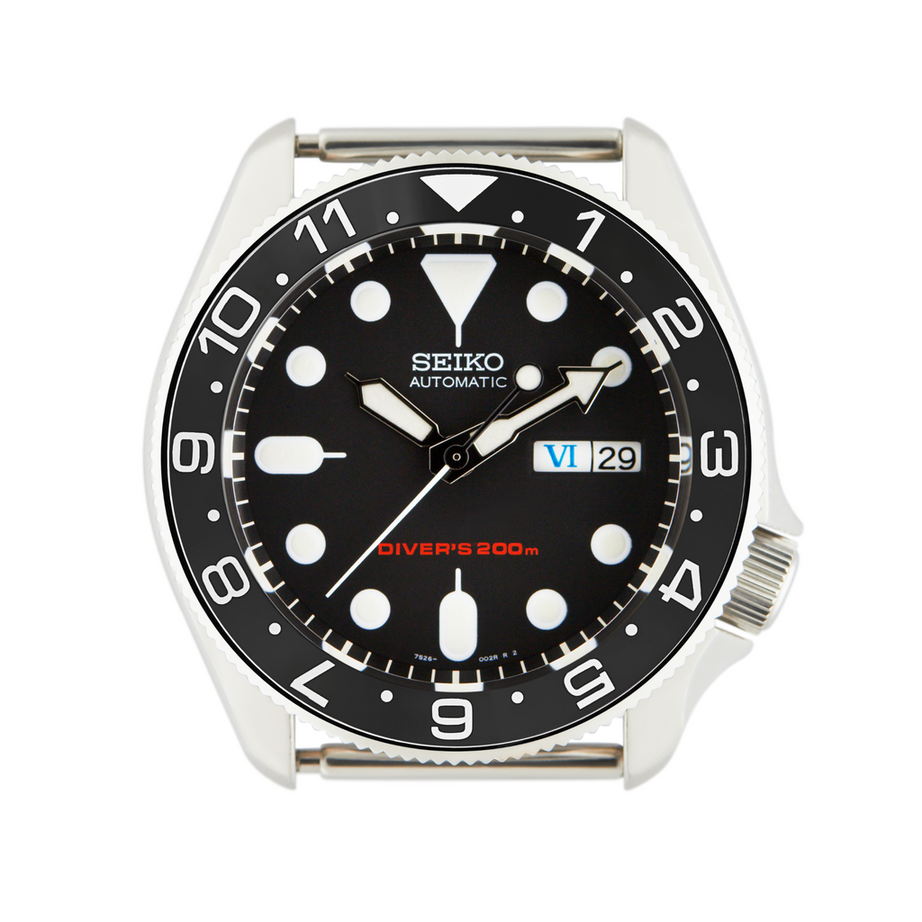 SKX Lumed Ceramic Bezel Insert: Dual Time style Black/White for SKX007 SKX009