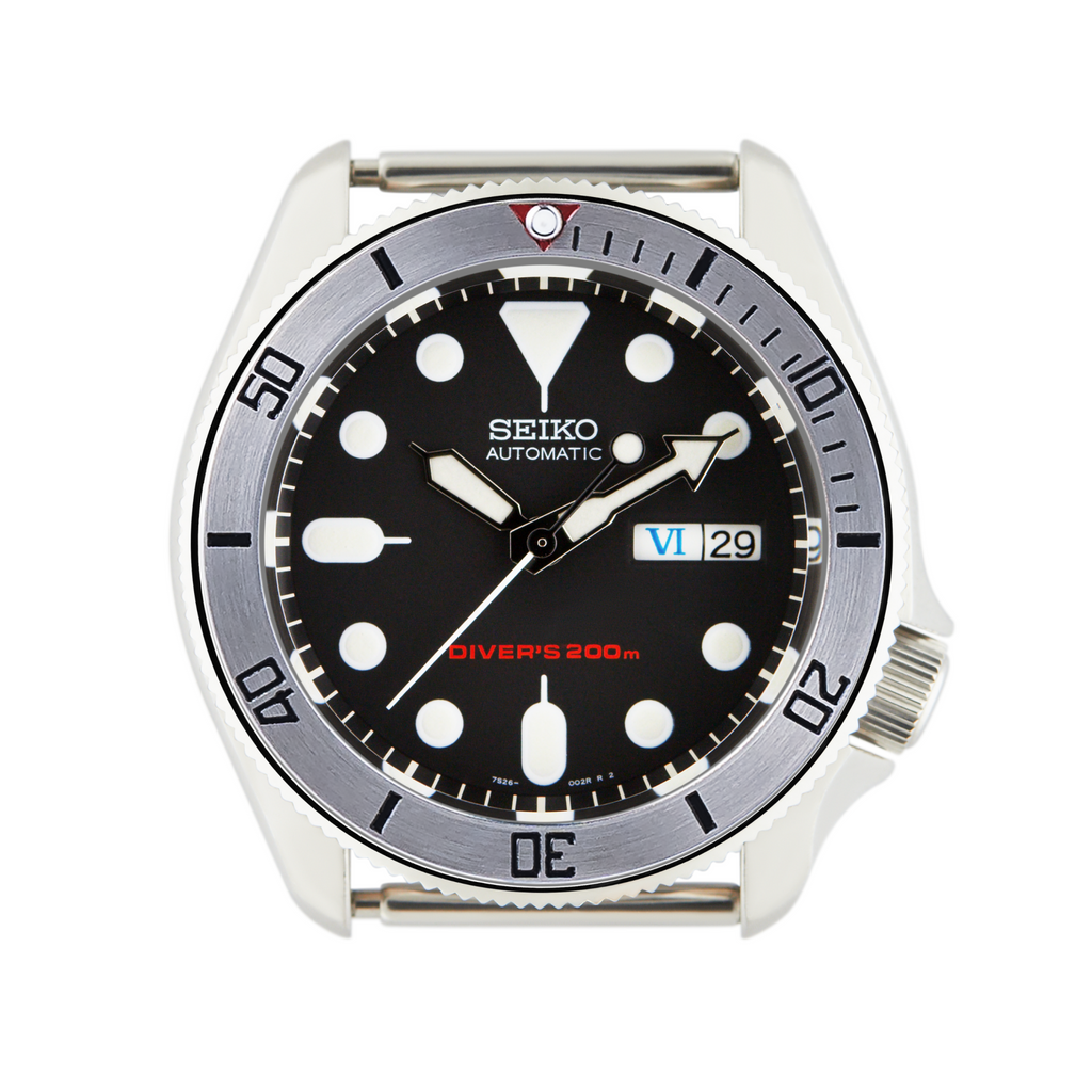 SKX007 SKX009 Steel Bezel Insert Black Bay Steel Style Red