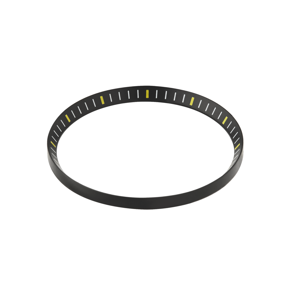 SKX Chapter Ring: Matte Black Finish with Yellow Markers for SKX007 SKX009