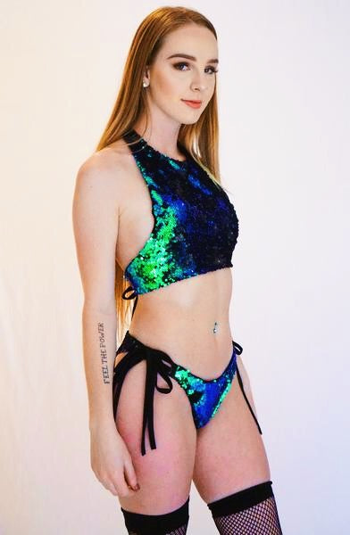 Emerald Sequin Halter Top - music festival outfits