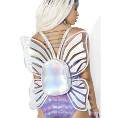Holographic Butterfly Backpack - music festival outfits