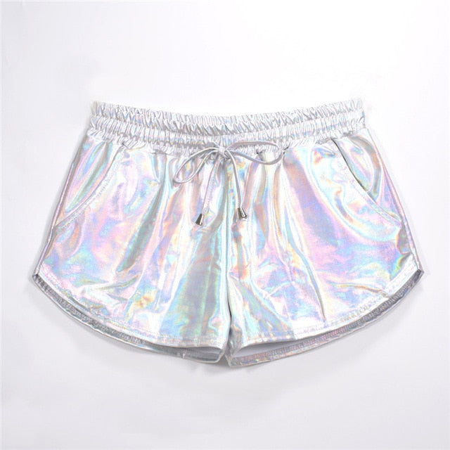 Holographic Shorts - music festival outfits