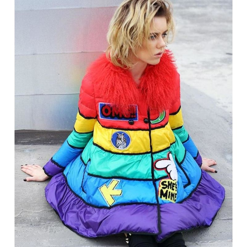 Rainbow Party Coat - music festival outfits