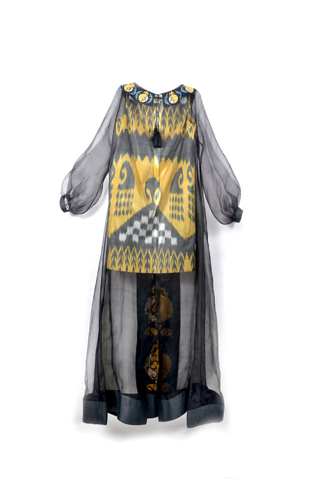 Amira Silk Dyad Ikat Evening Dress