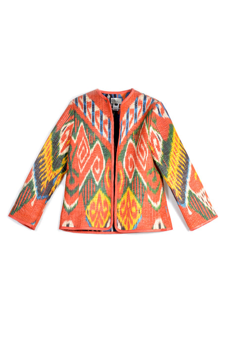 Quilted Reversible Short Ikat Jacket