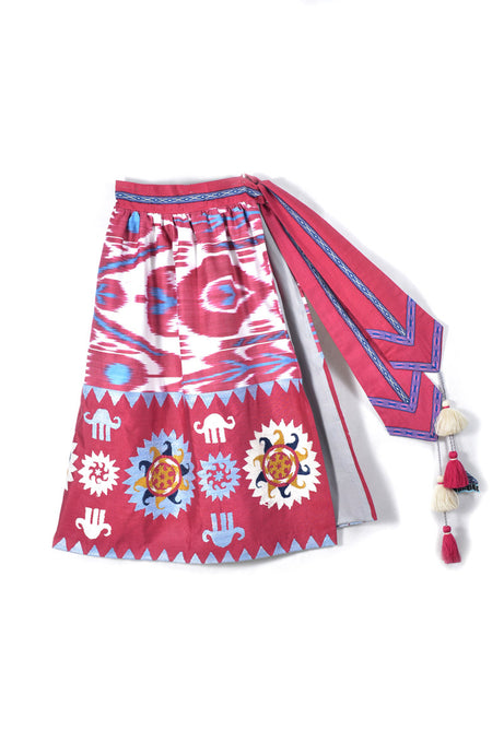 Embroidered Ikat Wrap Skirt
