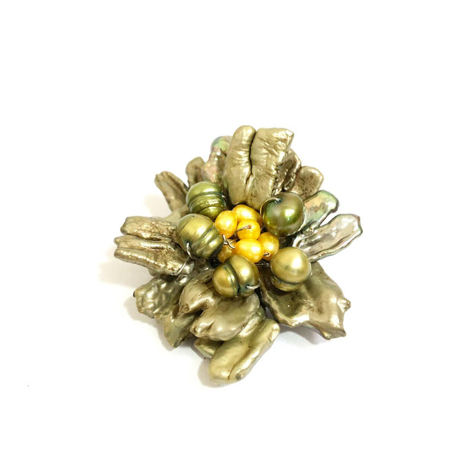 Green & Yellow Pearl Flower Brooch