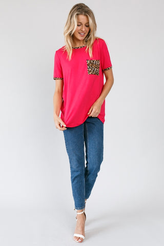 Raspberry Animal Print Top