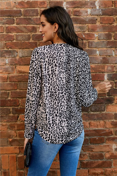 V Neck Animal Print Blouse