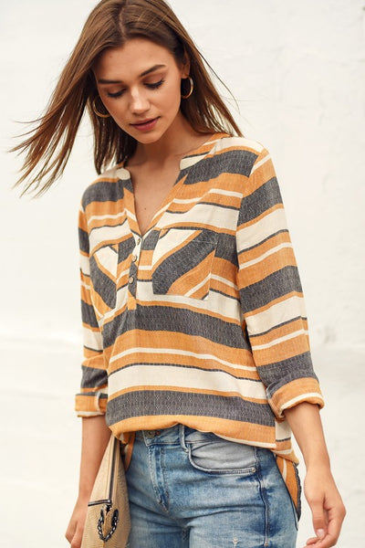 Striped Top with Pockets