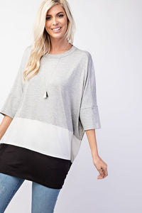 Heather Grey Color Block Top