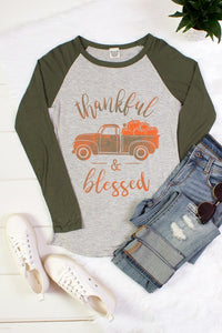 Thankful & Blessed Fall Graphic Tee