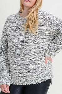 Curvy Charcoal/Ivory Sweater