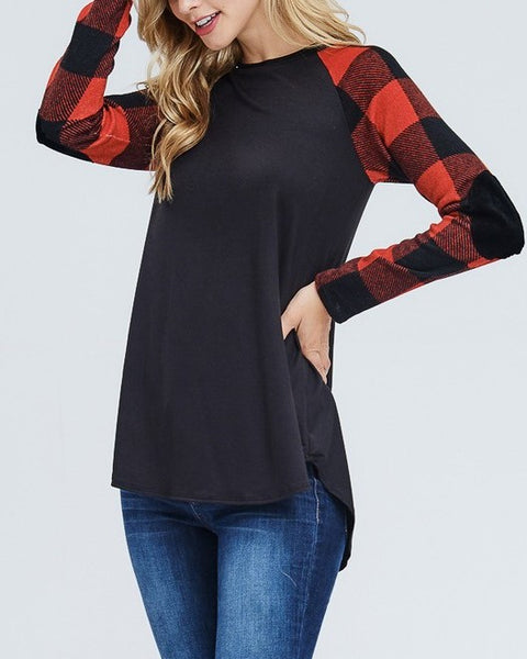 Black & Buffalo Plaid Sleeve Top