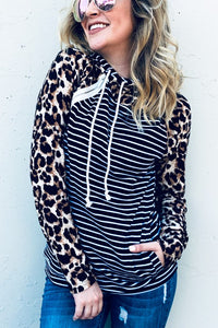 Leopard and Black Stripe Hoodie