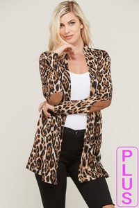 Cheetah Open Long Sleeve Cardigan