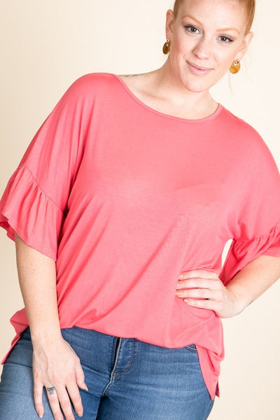 Curvy Coral Short Sleeve Top