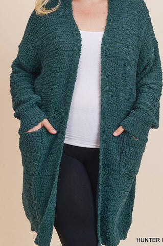 Curvy Hunter Green Cardigan