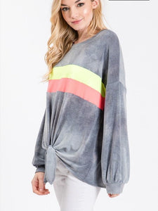 Silver Neon Stripe Long Sleeve Top