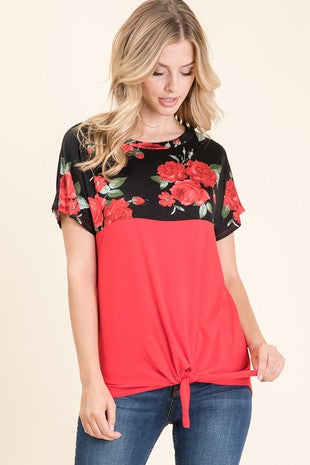 Red Floral Color Block Top