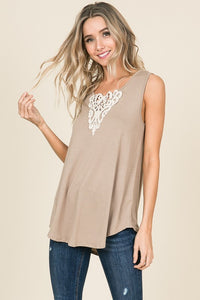 Beige Sleeveless Crochet Top