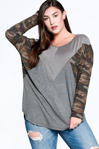 Charcoal & Camo Long Sleeve Top
