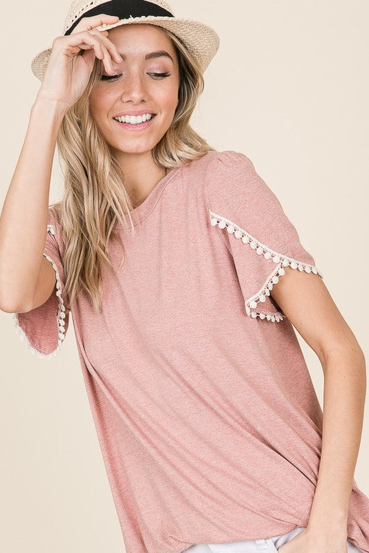 Two Tone Blush Pink Shortsleeve Top