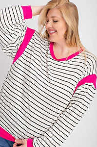 Ivory & Fushia Balloon Long Sleeve Top