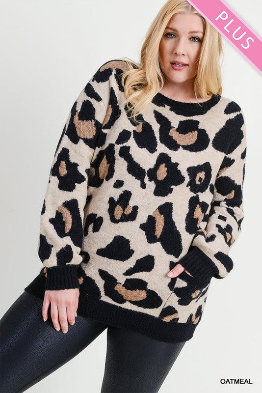 Curvy Oatmeal Animal Print Sweater