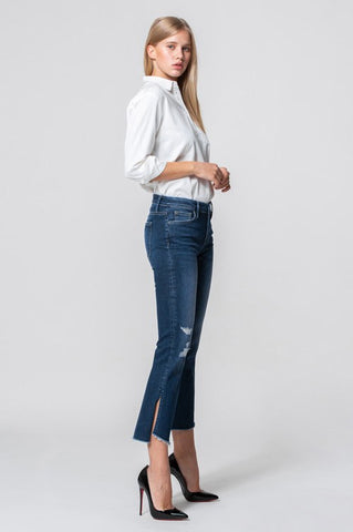 Flying Monkey Mid Rise Crop Flare Denim