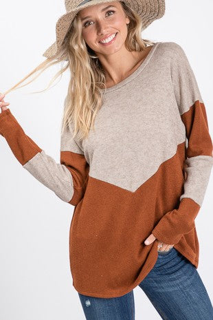 Two Tone Color Block Long Sleeve