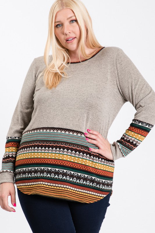 Taupe Multi Design Top