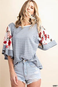 Grey & Floral Flutter Sleeve Top