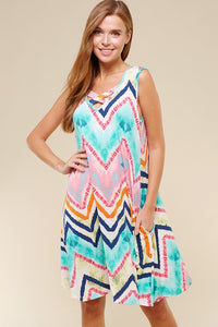 Multicolor Chevron Sleeveless Dress