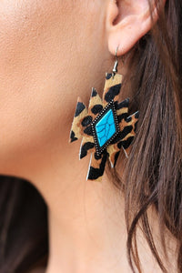 Teal Cheetah Earrings
