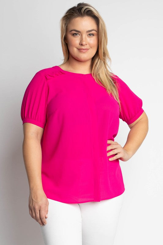 Curvy Hot Pink Blouse