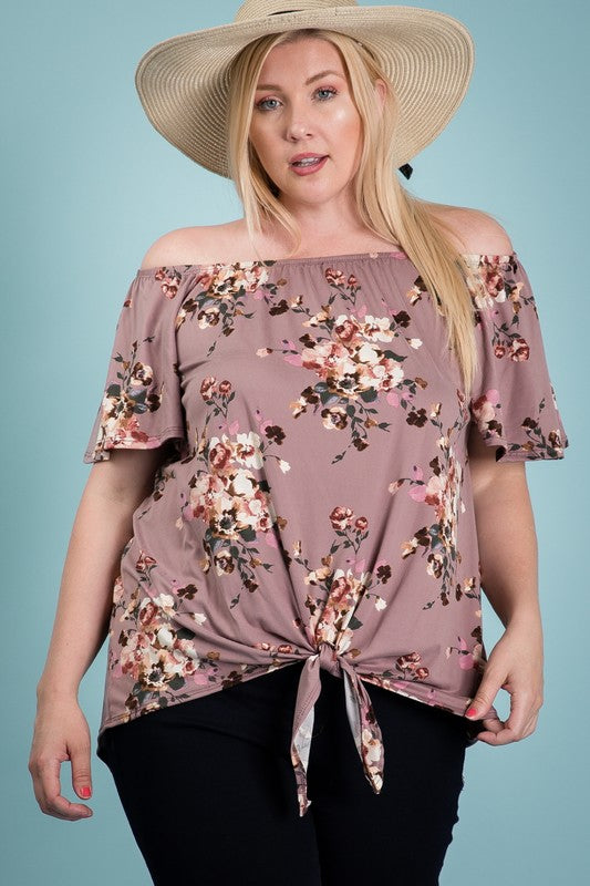 Curvy Floral Off The Shoulder Top