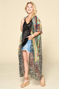 Geo Abstract Short Sleeve Maxi Kimono