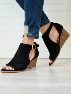 Black Wedge Open Toe Shoes