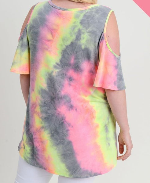 Cold Shoulder Tie Dye Neon Top
