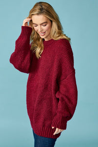 Wine Ribbed Loose Fit Sweater