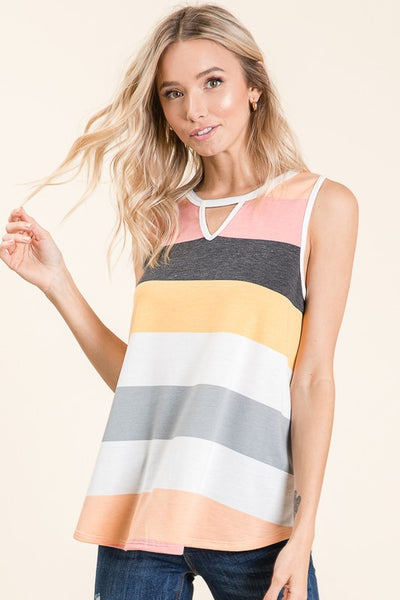 Striped Front Keyhole Tank