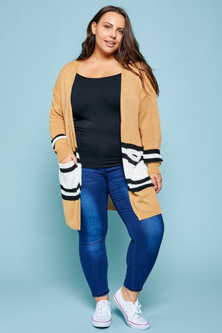 Toffee Varsity Stripe Cardigan