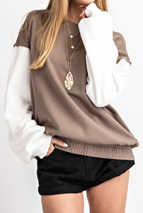 Mocha and While Pullover Sweatshirt with Banded Bottom