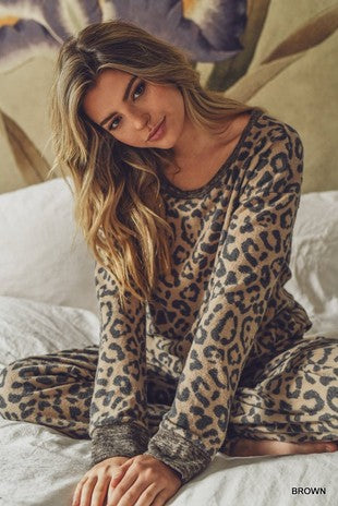 Brown Leopard Pajama Top