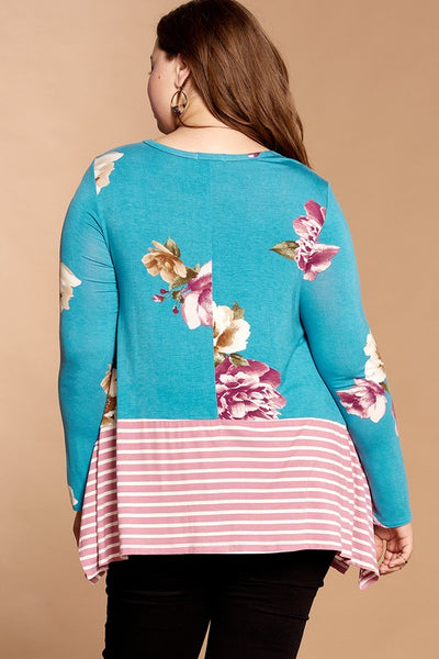 Blue & Pink Floral Knit Stripe Long Sleeve Top