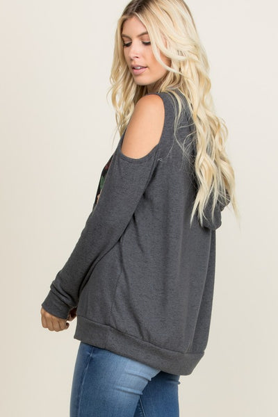Charcoal Floral Band Cold Shoulder Hood Top