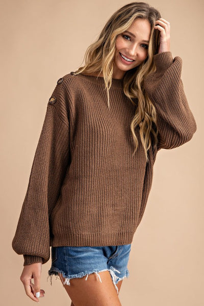 Brown Balloon Sleeve Button Top