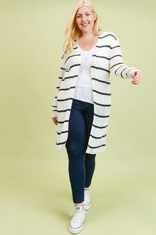 White & Black Stripe Ribbed Cardigan